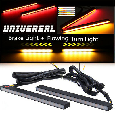2 Pcs Ultra Slim Switchback 29 LED Flowing Car Turn Signal+Brake+DRL Fog Lights