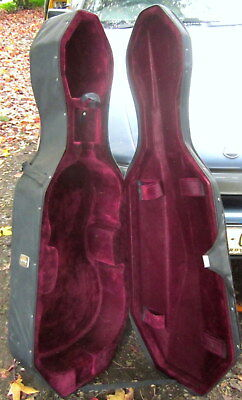 2nd hand 3/4 size, hard body , felt lined  cello case - with wheels