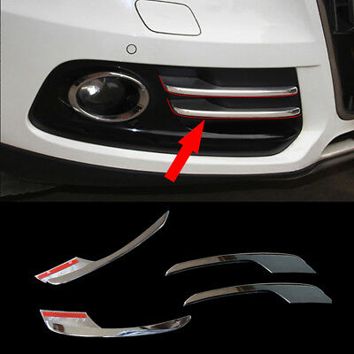 4 Pcs ABS Sliver Front Fog Light Cover Frame Trim Parts For Audi Q5 2013-2017