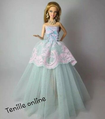 New Barbie clothes outfit princess wedding dress gown blue pink lace and shoes