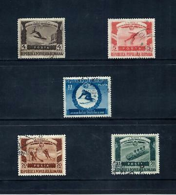 ROMANIA _ 1951 'WINTER SPORTS' SET of 5 _ used ____(539)
