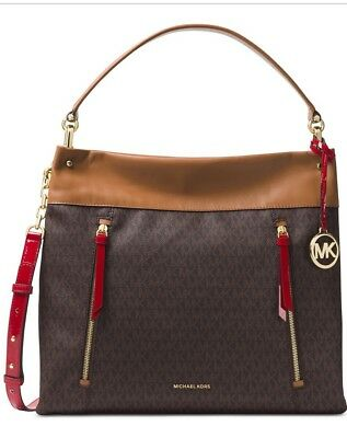 2325ed355584 New Michael Kors Lex Large Hobo signature coated twill faux leather brown  bag