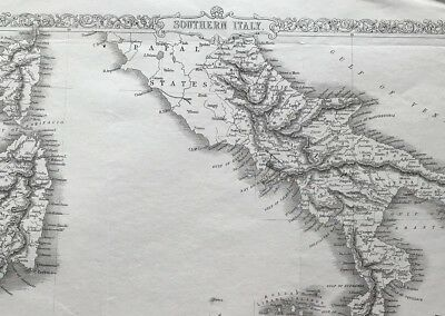Antique Map SOUTHERN ITALY c1865 Tallis & Rapkin, engraved, colour, original
