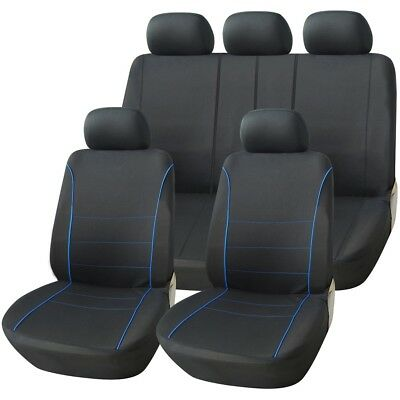 LUXURY BLACK & BLUE PIPING SEAT COVER SET for MORRIS MINOR (69-ON)