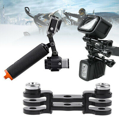 ABS Dual Mount Holder Handle Grip Pole Adapter For GoPro Hero 3+ 4 & LED Light