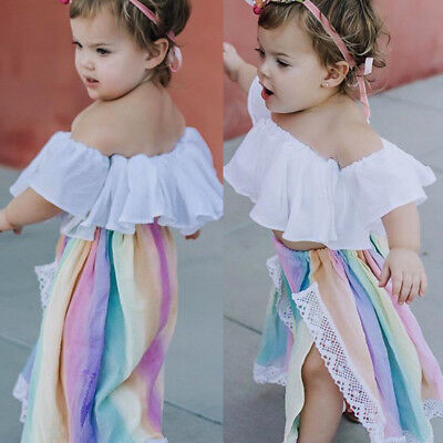 Fashion Newborn Kids Baby Girl Off Shoulder Crop Top Skirt Outfits Clothes US