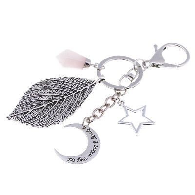 Metal Engraved Leaf Key Chain Car Key Ring Holder Bag Keychain Gift