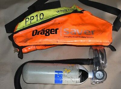 Drager Saver PP10 Emergency Escape Breathing Apparatus Oxygen Cylinder Air