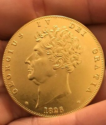 1826 George Iv £5 Sovereign King Coin Collector Gold Plated RESTRIKE