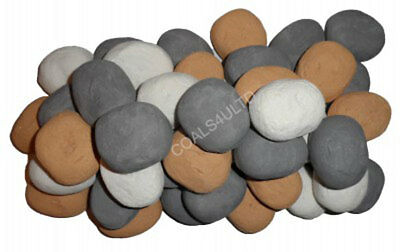 20 Gas Coals Fire Replacement Ceramic Universal Realistic Pebbles New AW 19/20