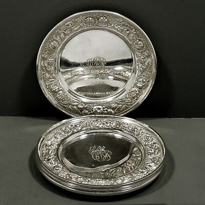 """Stieff Sterling Silver Plates   (4)     """" RAISED FLORAL ON SATIN BORDERS """""""