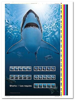 SHARKS in Canadian Waters = UNCUT PRESS SHEET of 5 strips x 5 stamps Canada 2018