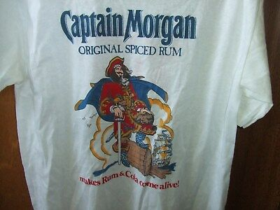 Vintage Captain Morgan Spiced Rum 2-sided Images T Shirt Med.Very Nice!!!