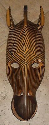 Hand Carved Wooden Mask African Zebra  Kenya Tribal Wall Art Sculpture