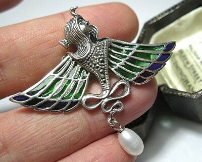 925 Silver Plique A Jour Enamel Egyptian Revival Goddess Isis Brooch Pin Pendant