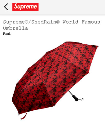Supreme ShedRain World Famous Umbrella Red SS18A47 Brand New NWT SS18 2018