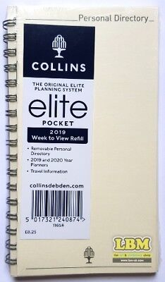 Collins Elite 2019 Pocket size Week To View Diary Refill Ref 1165R