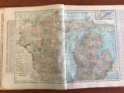 Crams New Century atlas of the world BOOK 1901 Vintage Antique State Maps HC
