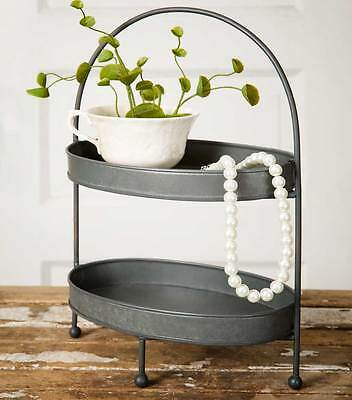 Two-Tier Metal Tray Vintage Rustic Farmhouse Style Vanity Kitchen Home Decor New