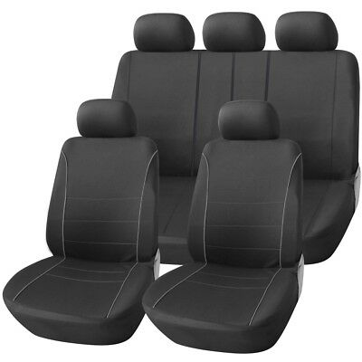 LUXURY BLACK & GREY PIPING SEAT COVER SET for VAUXHALL AGILA (09-11)