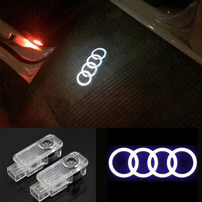 2x LED Car Door Logo Welcome 3D Shadow Light Courtesy Laser For Audi A4 A6 A8 Q7