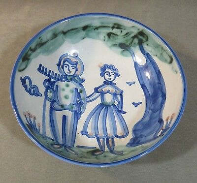 "M.A. Hadley Pottery Large 11"" x 3¼"" Serving Bowl with Farmer & Wife Signed 1950s"