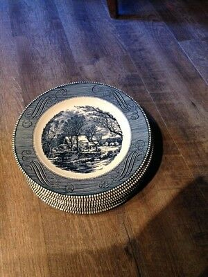 Currier And Ives Old Grist Mill Design Dinner Plates (8)