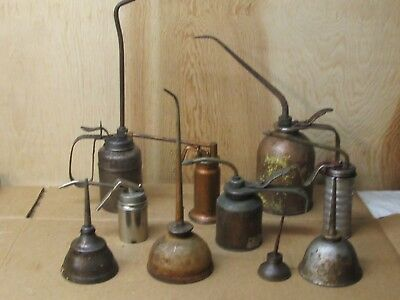 Lot of 10 Vintage Oil  Thumb & Pump Cans