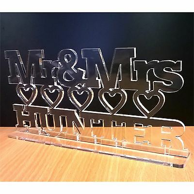 Mr & Mrs Personalised Wedding gift name letters, sign decoration table top