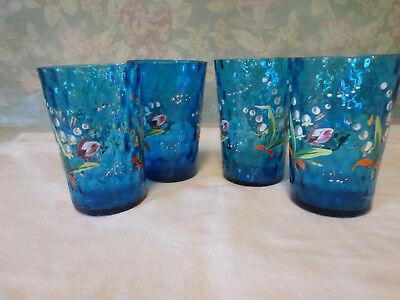 Antique Polka Dot Hand Enameled Lily of the Valley Blue Glass Tumblers (1884)