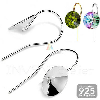925 STERLING SILVER Fish Hook Earwires for Gluing 1122 Rivoli Setting Base 8mm