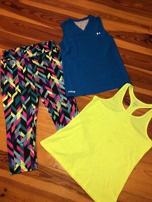 Lot Of 3 Women's LG Nike & Under Armour Athletic Tank, City Staits Capris