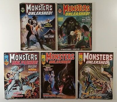 Lot of 5 Monsters Unleashed 2, 3, 9, 10, 11 Marvel Magazine 1973 Man-Thing Tigra