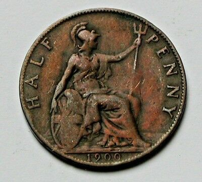 1900 UK (British) Victoria Coin - Half Penny (1/2d) - once cleaned - toned