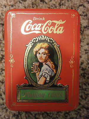 Coca-Cola Vintage 1980s Tin Can Man Cave Playing Cards Used Complete