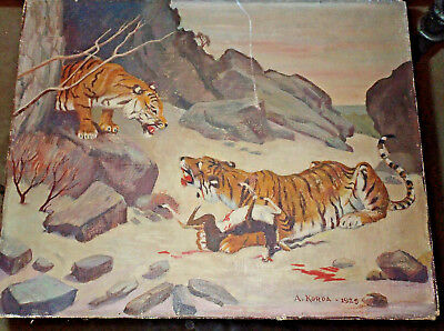 Vintage Asian Painting Of Two Tigers Hunting / Eating Deer Signed 1929 A.Korda