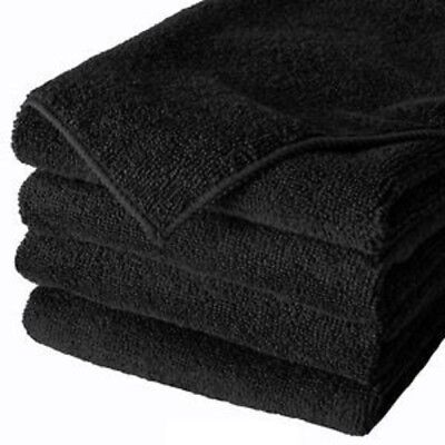 12 black microfiber 16x16 cleaning cloth detailing polishing towels rags 320 gsm