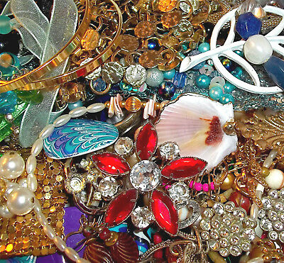 LBS Vintage Now Jewelry Lot Unsearched Untested Junk Drawer Estate Find Signed