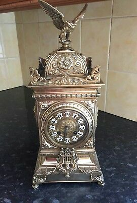 Antique German Clock Gilt Figural Mantle Clock