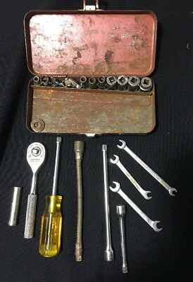"""Vintage Proto 1/4"""" Socket Set Extensions Wrenches 20 Piece"""