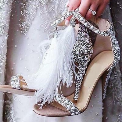 Women Bling High Heel Bead Shoes Ladies Ankle Strap Feather Fringe Sandals Party