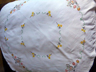 Vintage Tablecloth White Hand Embroidered Flowers Circular Crochet Edge 41""