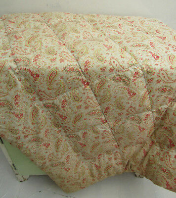 Antique 1930s Green & Pink Paisley Patterned Eiderdown Quilt Bedspread Single