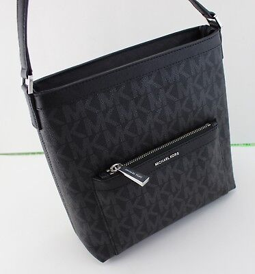 06057270316a New Authentic Michael Kors Morgan Black Signature Md Messenger Crossbody  Handbag