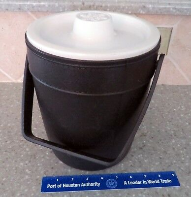 Vintage Black Rubbermaid Ice Bucket White Lid Liner Black Outside Insulated 2260