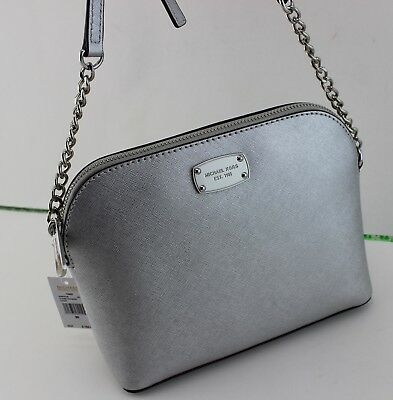 b85975837901ab New Authentic Michael Kors Cindy Silver Lg Large Dome Crossbody Women's  Handbag