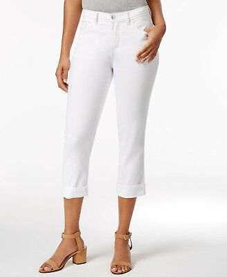 baa6bd19 Lee Platinum Womens Capri Pants Easy Fit Cameron Cuffed Cropped Jeans White  $56