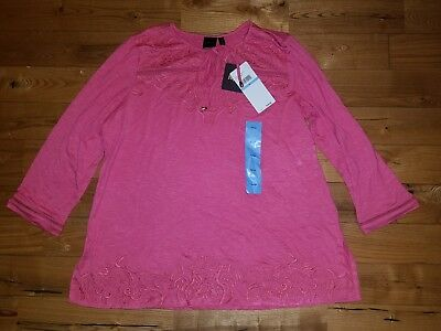6536de37fb5f4f NWT Women s Honeysuckle RAFAELLA 3 4 Sleeve Embroidered Knit Top Size XL X- LARGE