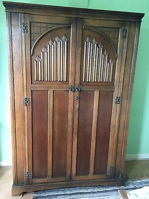 Oak Arts And Crafts Wood Brothers Vintage Jacobean Antique Double Wardrobe
