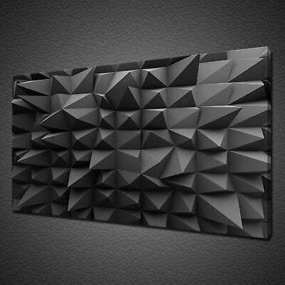 Abstract Geometric 3D Design Black Grey Canvas Print Wall Art Picture Photo